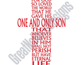 Cross John 3:16 SVG - HTV - Vinyl Cutting Graphic Art