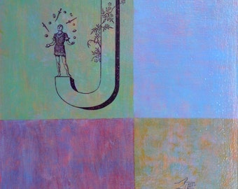 J is for Juggler - original painting, fine art by Irene Stapleford - wantknot shop