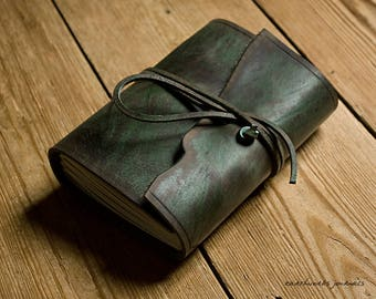 A6, Standard, Distressed Leather Journal, Leather Wraparound Journal, Travel Journal, Green Leather, Wrap Notebook, Blank Book, Rustic.
