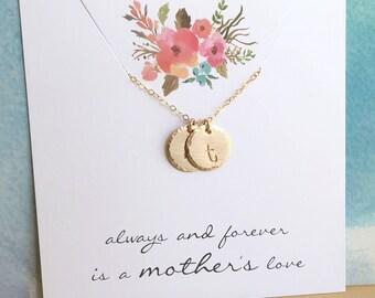 Collier maman, maman or collier, collier initiale en or, deux initiales, deux enfants, collier de grand-mère, cadeau pour maman, collier personnalisé