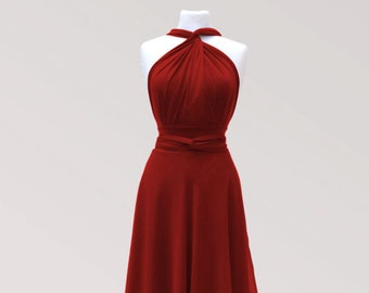 Middle red infinity dress  with chiffon   wrap dress Convertible Dress