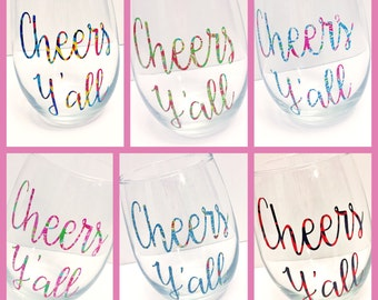 Lilly Pulitzer Cheers Y'all Glass stemless wineglass / Lilly Pulitzer Wine Glass/ Personalized Stemless Wine Glasses  / Bridal Party Gift /