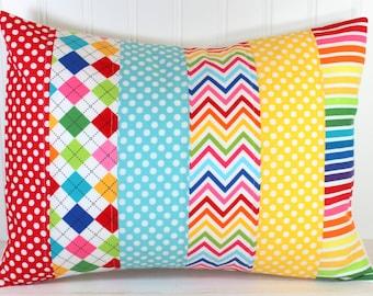 Baby Bedding, Nursery Decor, Pillow Cover, 12 x 16, Cushion Cover, Decorative Pillows, Throw Pillows, Rainbow, Yellow, Aqua Blue, Red
