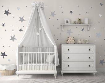 NEW!! Baby Nursery Wall Decals, Gray, Grey, Stars, Baby Nursery Wall Decal Kids Wall Decal Modern Nursery Wall Decal, Children stars decor