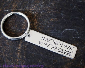 Latitude and Longitude Key Chain, Coordinates Keychain, Latitude Longitude Keychain