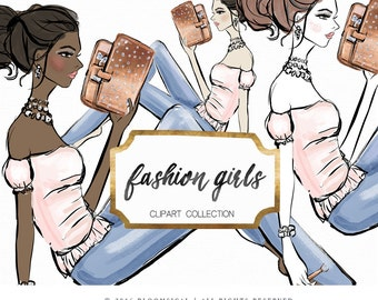 Planner Girl Clipart    Fashion Illustration, woman, planner stickers, graphics  resources, cliparts, watercolor hand drawn