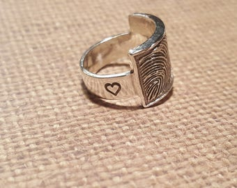 Oversized FINGERPRINT RING in .999 SOLID Fine Silver-wide 6mm band-with handstamped name and heart