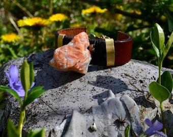 Bracelet Tribal/Ethnique avec une Calcite orange brute