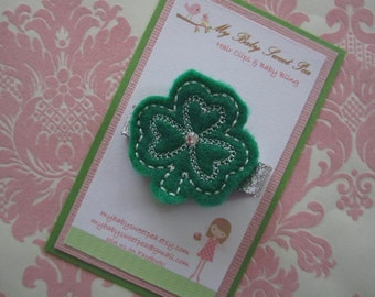 Girl hair clips - st patricks day - st patties day hair clips - girl barrettes