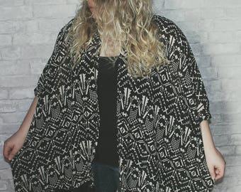 B&W Kimono With Fringe