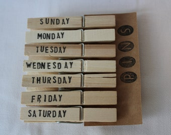 Days of the Week Clothespins - Set of 7 Handstamped Clothes Pins - You choose color