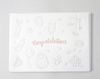 Baby Girl Letterpress card - Toy illustrations