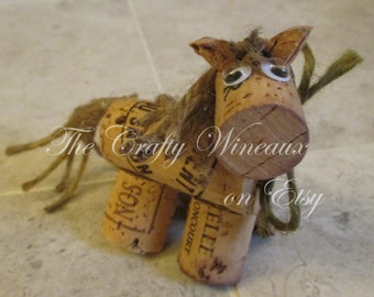 Rustic Pony, Horse Sage Green Twine and Wine Cork Ornament, Christmas Ornament, Gift Tag, Wine Bottle Charm