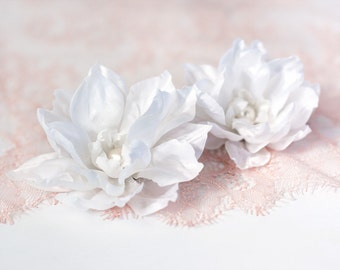 71411 White flower clip, Flower barrette, Big flower, Hair flower, Flowers for hair, Hair accessories, Fabric flower hair Bridal hair flower
