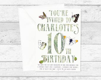 White and Green Butterflies Birthday Invitation Personalised Marble Typography - Printed or Digital Printable Butterfly Invitation