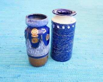 Vintage deep blue vases, 1 VEB Haldensleben GDR + 1 Ü - Keramik Studio pottery Germany 121 /18, ultramarin colour, hand painted, decorative!