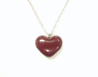 Kiln-fused heart pendant in dark red glass on silver chain or leather cord/Handmade necklace