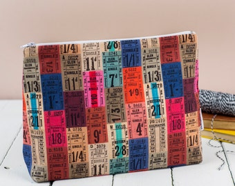 Tickets Toiletry Bag, Washbag with Vintage Bus Ticket fabric
