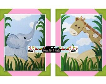 Art for Girls Room, Instant Download, Digital Art Print, Art Print, Jungle animals art, Elephant Giraffe art, Nursery Wall Art, Nursery Art