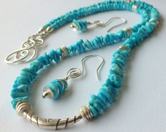 Sleeping Beauty  Turquoise Necklace and Earrings set with Tribe Hills Sterling Silver