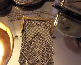 Mandalian mesh purse, Mandalian mesh bag, metal purse, enameled metal purse