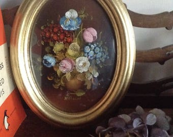 Gorgeous vintage oil painting by R Rosini/floral oil painting /floral still life