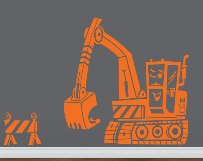 vinyl wall decal- construction equipment Excellent Excavator, boys room art, FREE SHIPPING