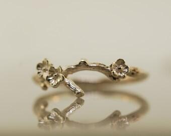 Silver blossom ring,branch ring,wedding ring, Twig ring, cherry blossom ring, silver twig ring