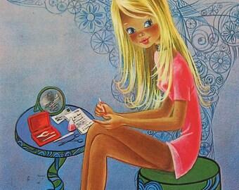 Vintage Cute Big Eyed Girl Postcard L.Dobon