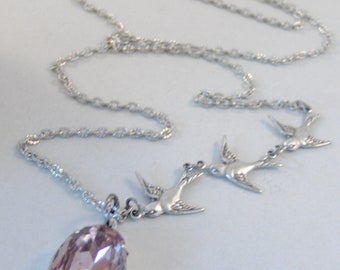 She Flies,Alexandrite Necklace,Lavender Necklace,June Birthstone,Vintage Lavender stone,Necklace,Pendant,Vintage Rhinestone,valleygirldesign