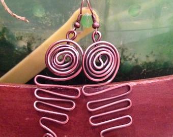 Antiqued Copper Wire Ocean Wave Dangle Earrings