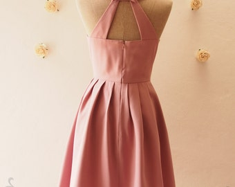 Dusky Mauve Pink Backless Dress Party Dress Vintage Sundress Pink Backless Dress Vintage Bridesmaid Dress Summer Dress Love Potion