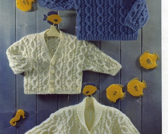 """Vintage baby knitting pattern  cardigans, sweater PDF Instant Download 16-26"""" chest DK Double Knitting Yarn"""