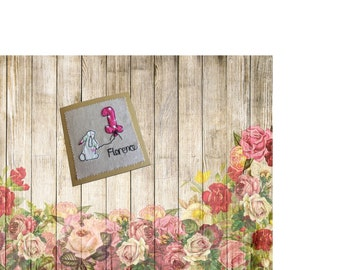 Personalised free-motion embroidery 1st birthday textile art card