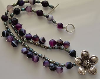 Pearl and Agate Necklace with Hilltribe Silver Flower Pendant