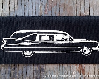 Classic Car Hearse Sew On Punk Patch Hand Screen Printed