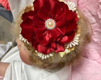 Red and Gold Holiday Princess stretch Hairband for baby