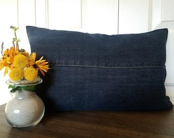 Blue Denim Pillow Cover Jeans Pillows Covers Denim Cushion Cover Lumbar Pillows Denim Decor Decorative Pillows Blue Jeans Patchwork Pillows