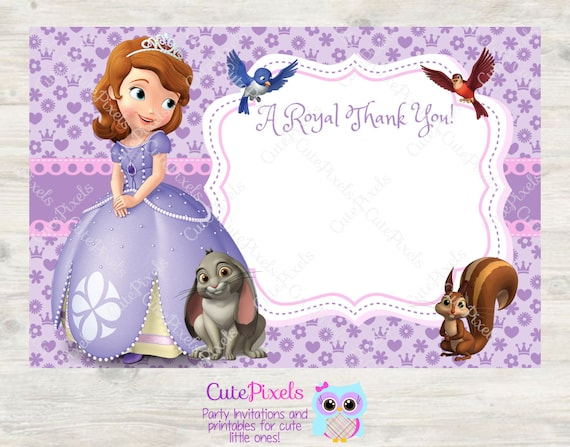 Items Similar To Sofia The First Blank Thank You Card Princess