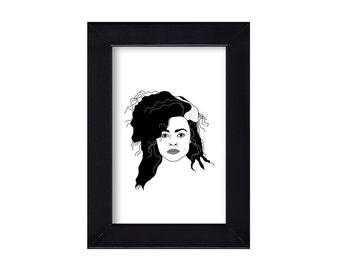 4 x 6 Framed Bellatrix Lestrange / Helena Bonham Carter / Harry Potter portrait