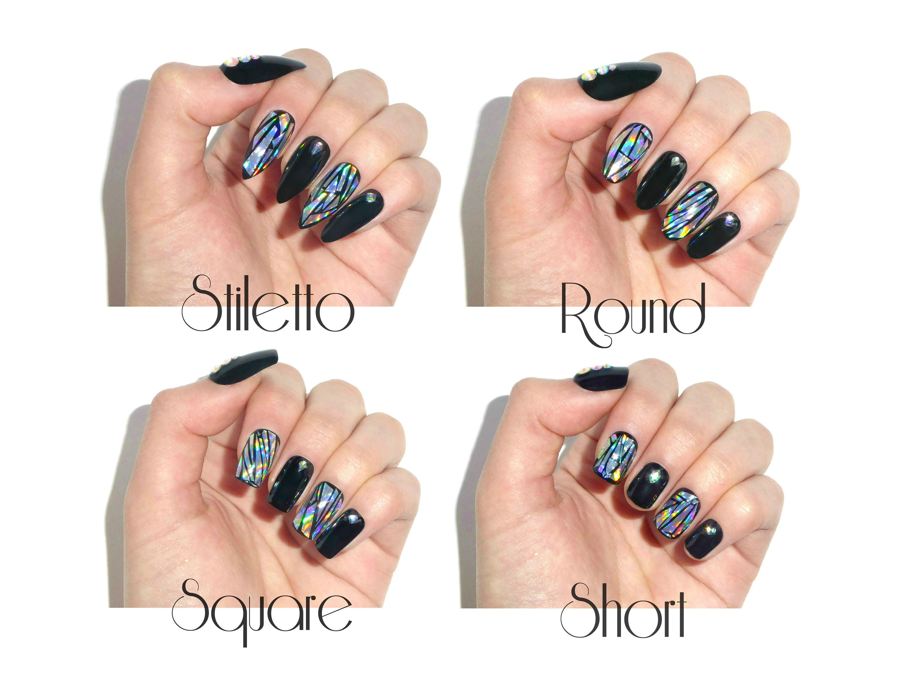 Holographic Jewelry Nails / Fake nails, glue on nails, press on ...