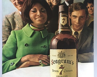 1968 Seagram's Seven Crown Whiskey Double Page Print Ad