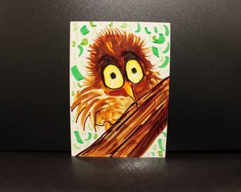 Baby Hoot - wide-eyed owl Artwork by Eilidh Morris Art - small happy art Cute illustration of Brown Fluffy bird - nature forest decor