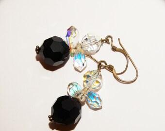 """Vintage Sterling Aurora Borealis 1.5"""" Earrings."""