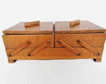 Vintage wooden sewing box, Wood Folding Storage box, Sewing supply storage, French Sewing Box