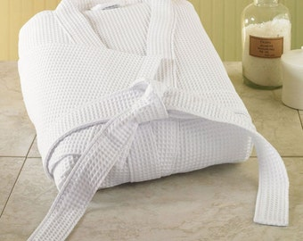 100% Egyptian cotton waffle bathrobe