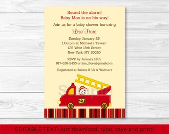Cute Fire Truck Baby Shower Invitation / Firetruck Baby Shower Invite / Fire Engine / Baby Boy Shower / INSTANT DOWNLOAD Editable PDF A316