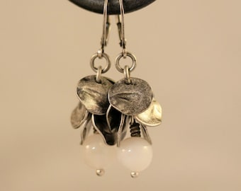 Snow White Quartz and Antiqued Silver Disc Dangling Earrings. White Earrings, Dangling Earrings, Sporty, Mother's Day