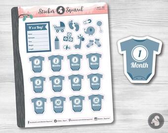Baby Boy Planner Stickers | Erin Condren monthly planning newborn infant photos baby months tracker big happy planner calendar SC.BABO.0317