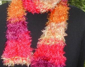 Hand-Knit Scarf  Fireworks Fun Fur